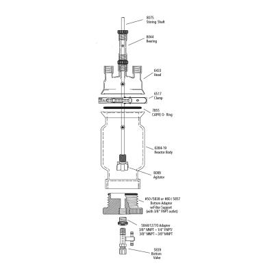 150ml Unjacketed filter reactor, pressure version, CRS6384-225